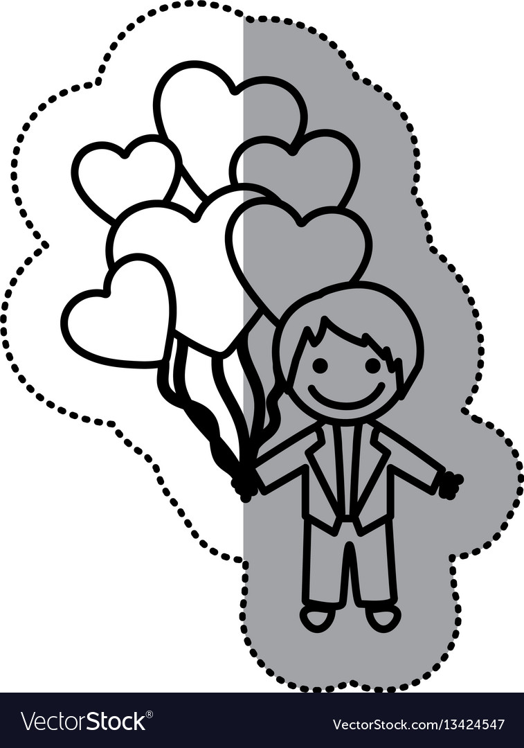Hand drawn sticker silhouette with groom and
