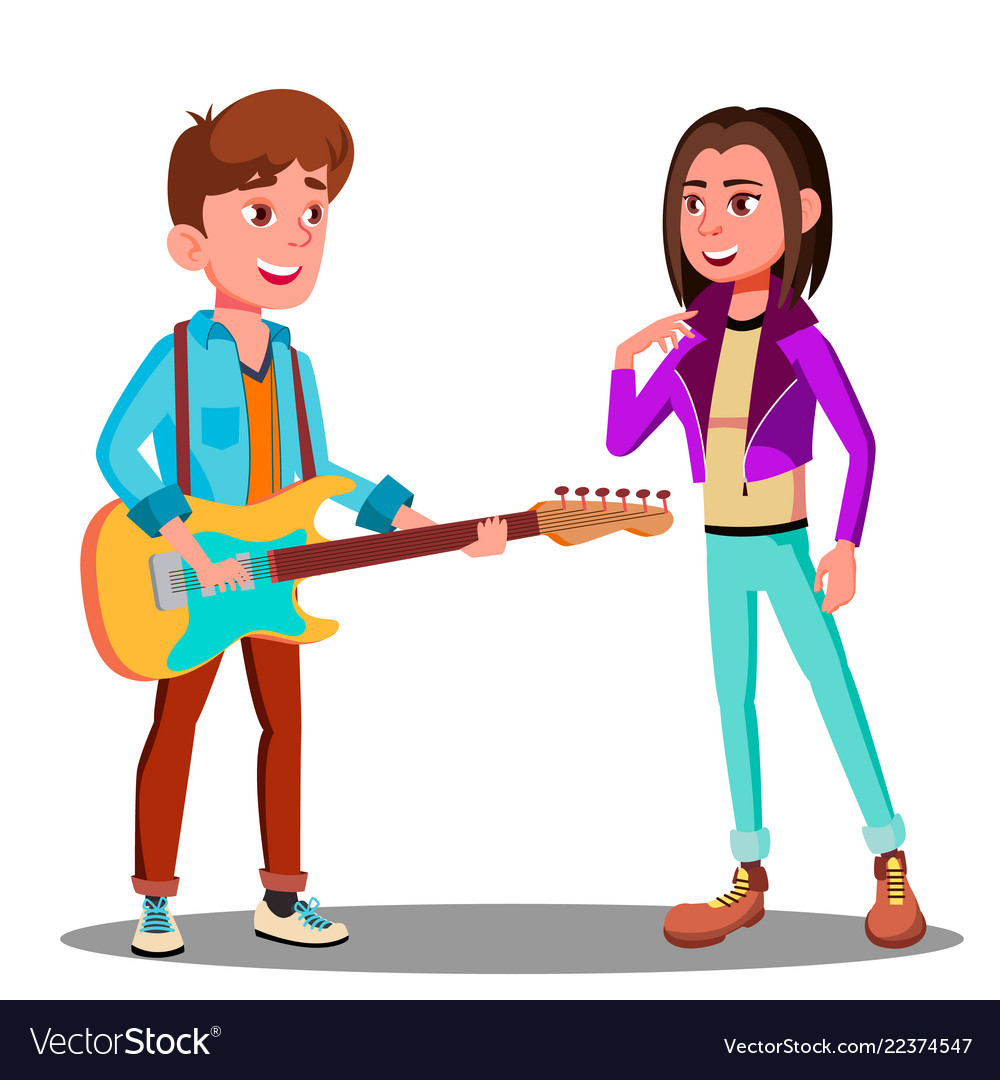 Handsome young man playing guitar to beautiful