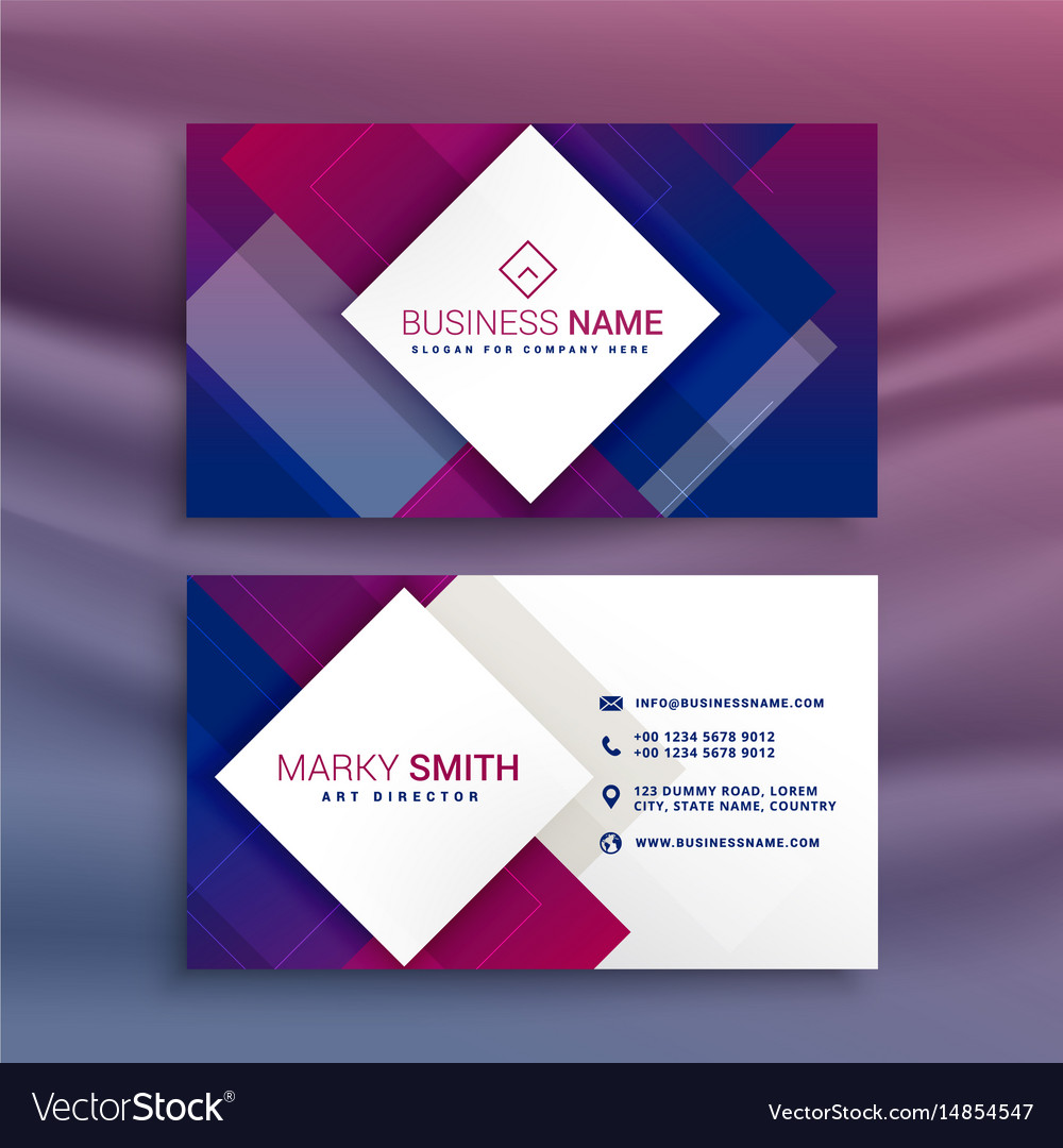 Modern purple business card design for your brand Vector Image