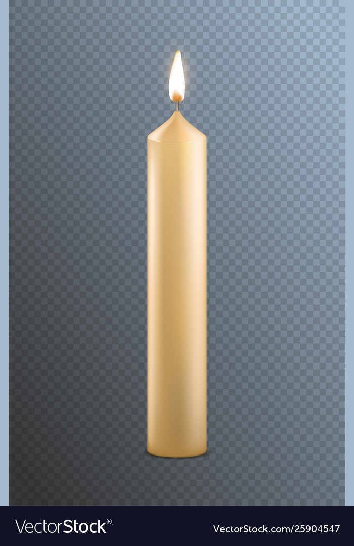 Realistic detailed 3d candle on a transparent
