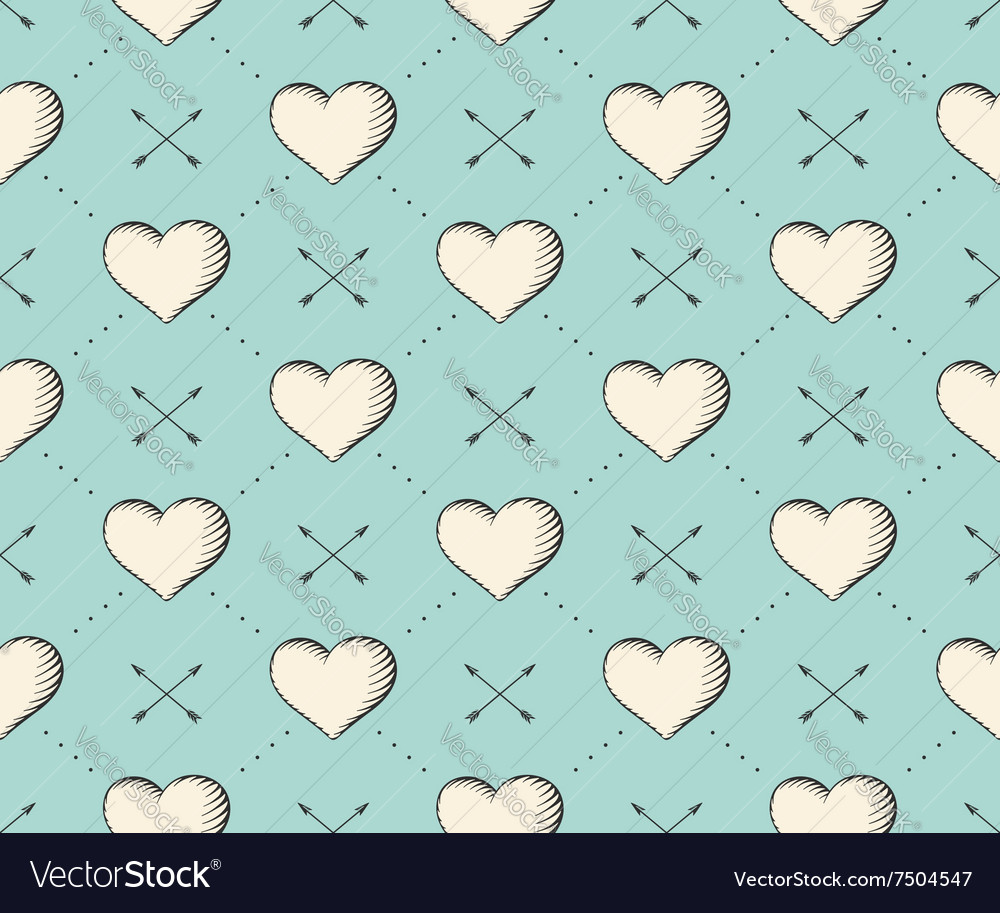 Seamless pattern with heart and arrows in vintage