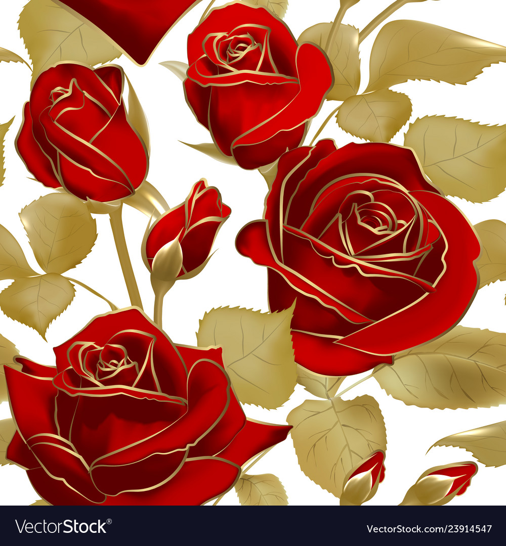 Seamless pattern with red roses and gold outline