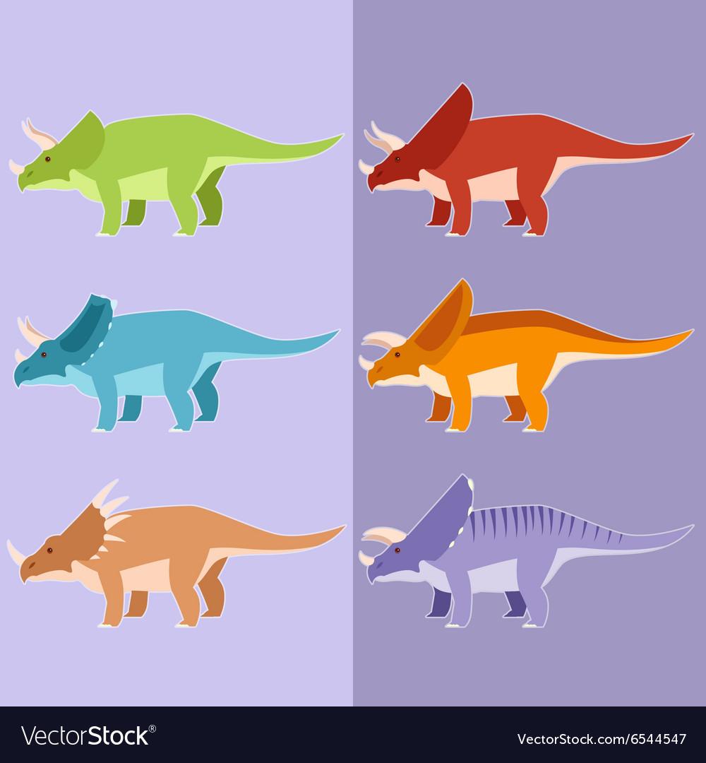 Set of horned dinosaurs