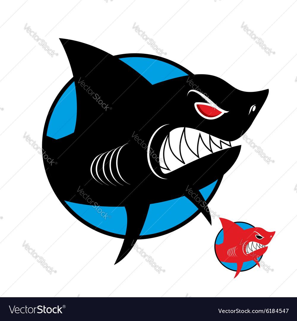 Shark logo Angry shark in circle logo for sports