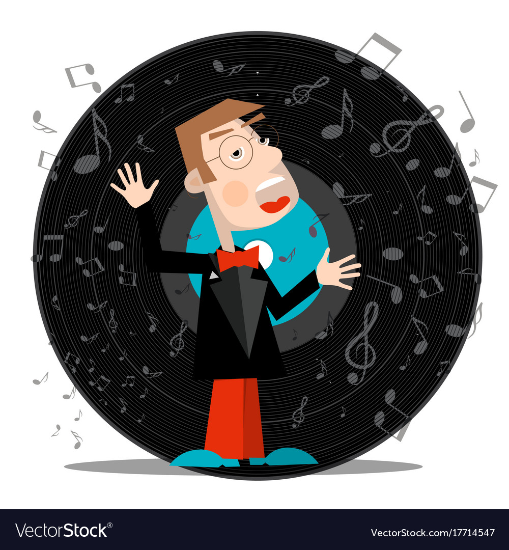 Singer with vinyl record music symbol with notes vector image