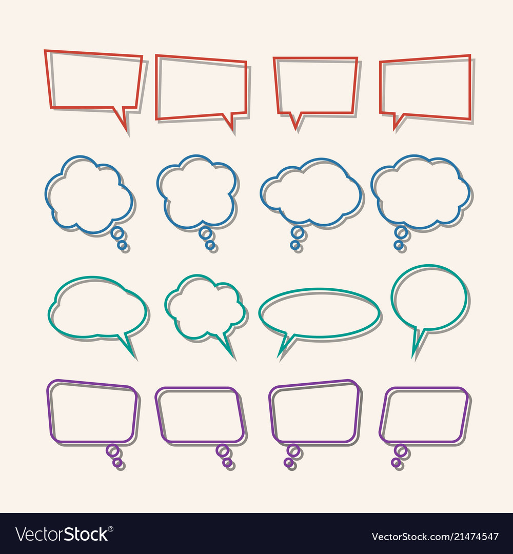 Speech bubble linear with shadows icons set