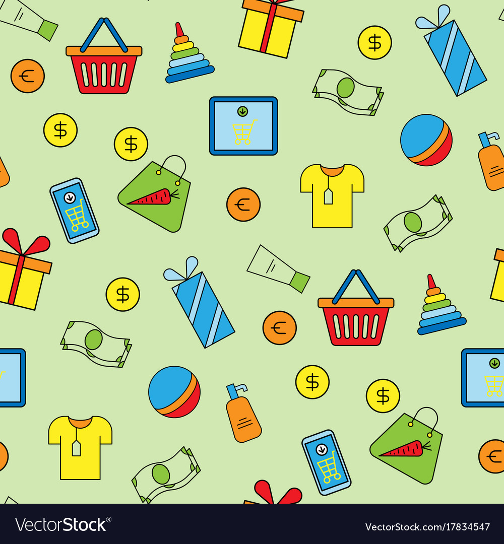 Supermarket shopping icons set seamless pattern