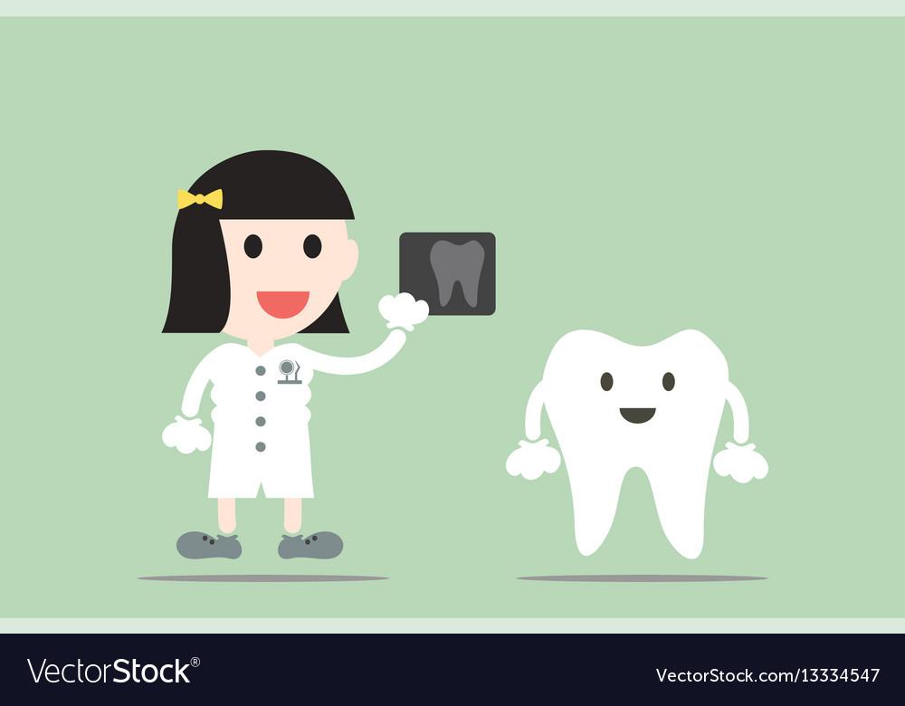 Tooth cartoon female dentist hold dental x-ray vector image