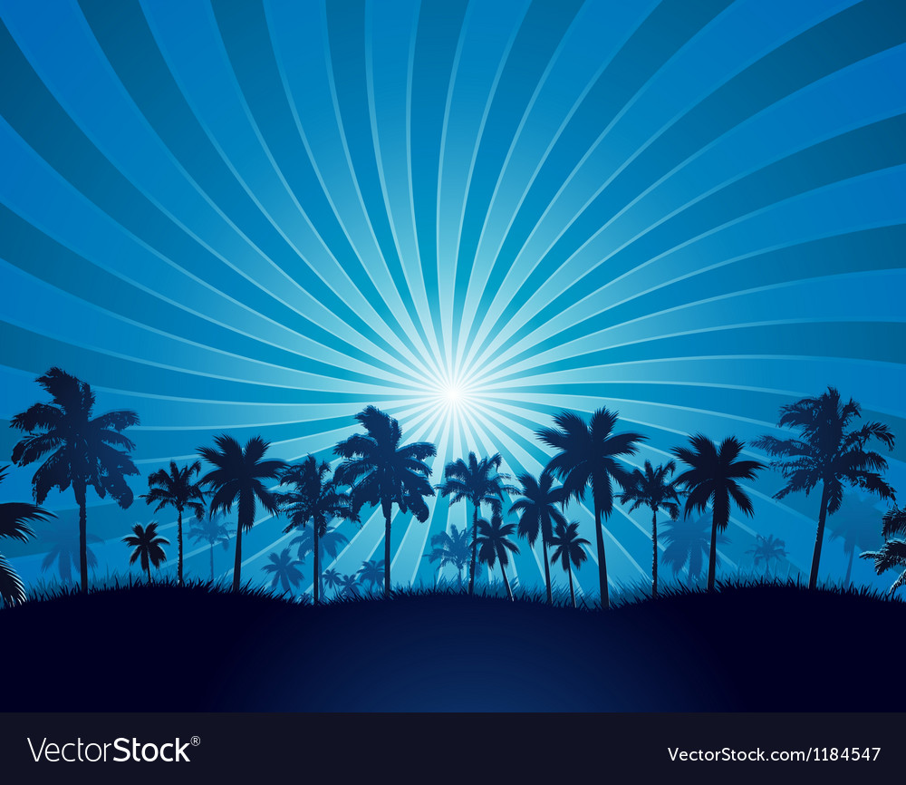 Tropical background with palm tree silhouette