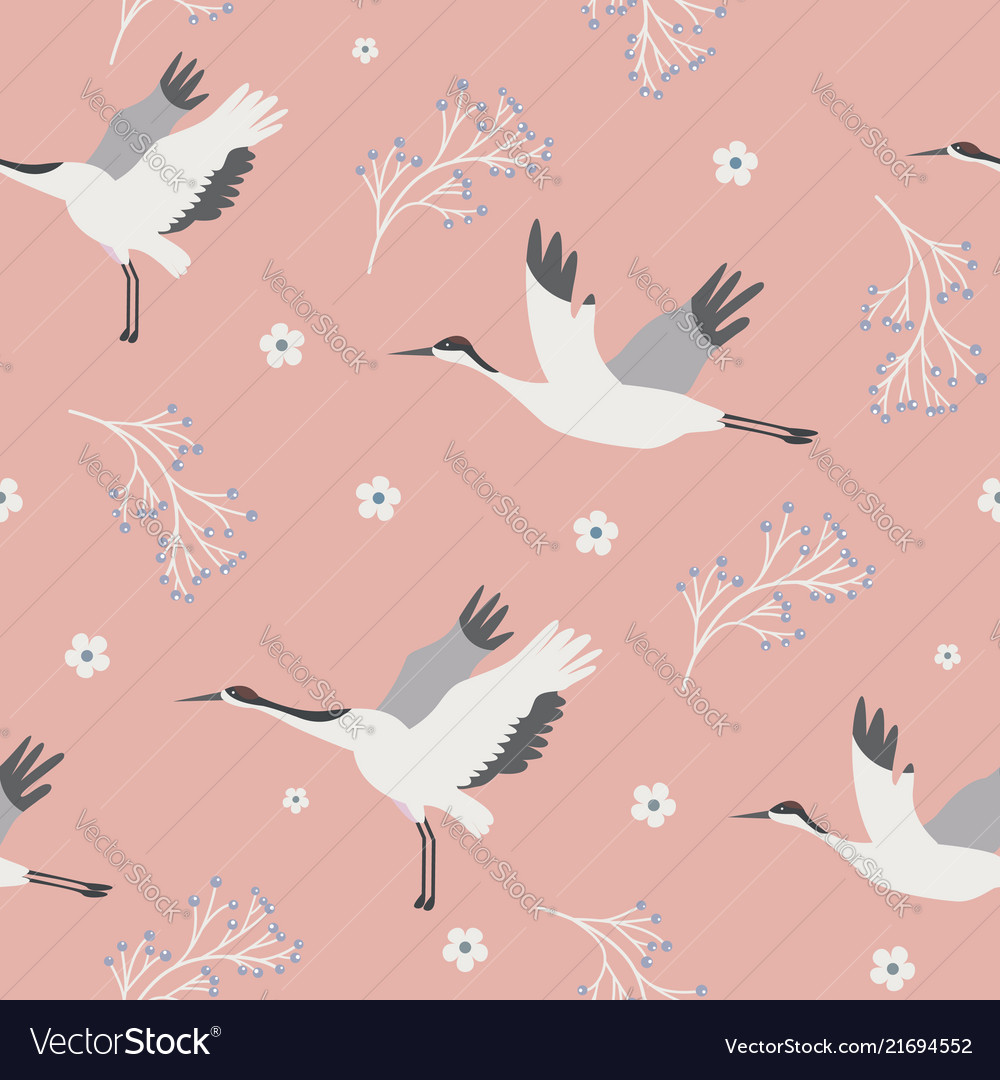 Beach tropical seamless pattern with cranes