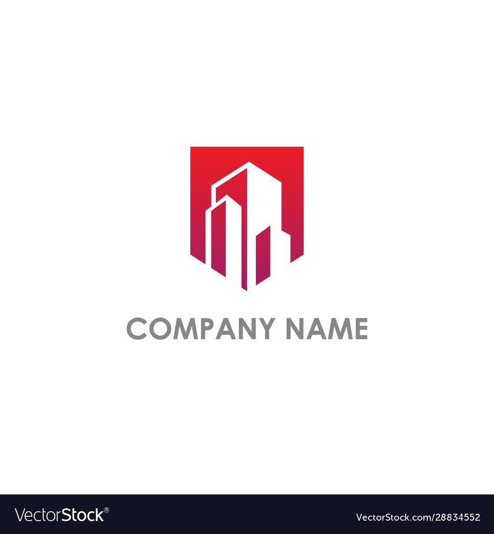 Building cityscape realty company logo