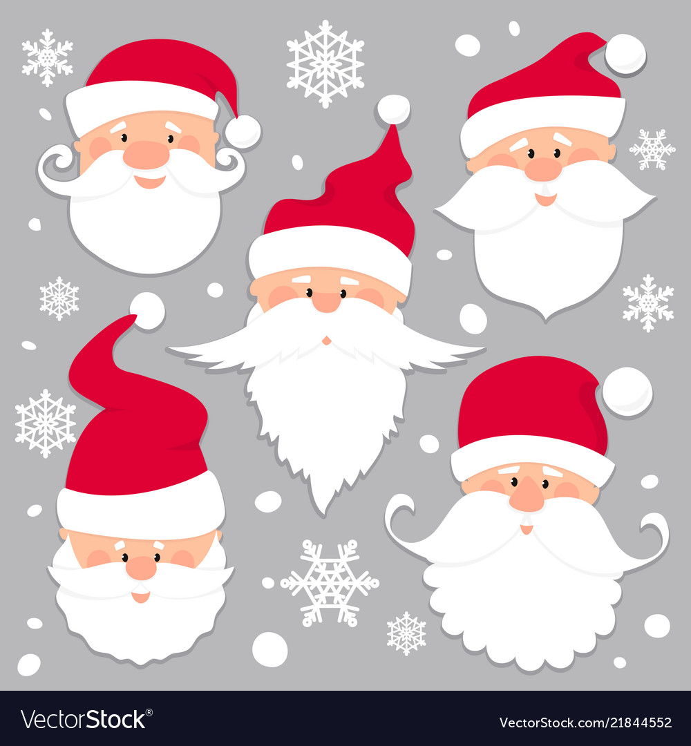 Christmas santa claus faces in red caps old men