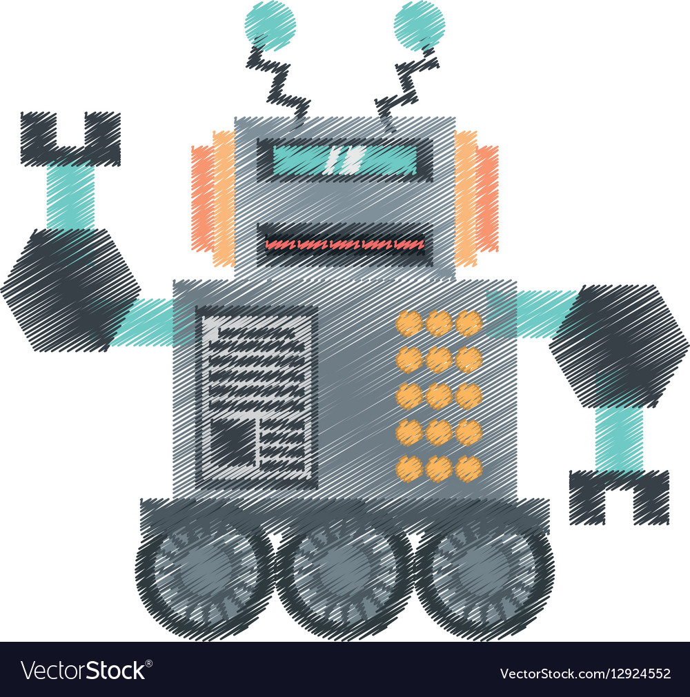 Drawing robotic future technology with wheel vector image