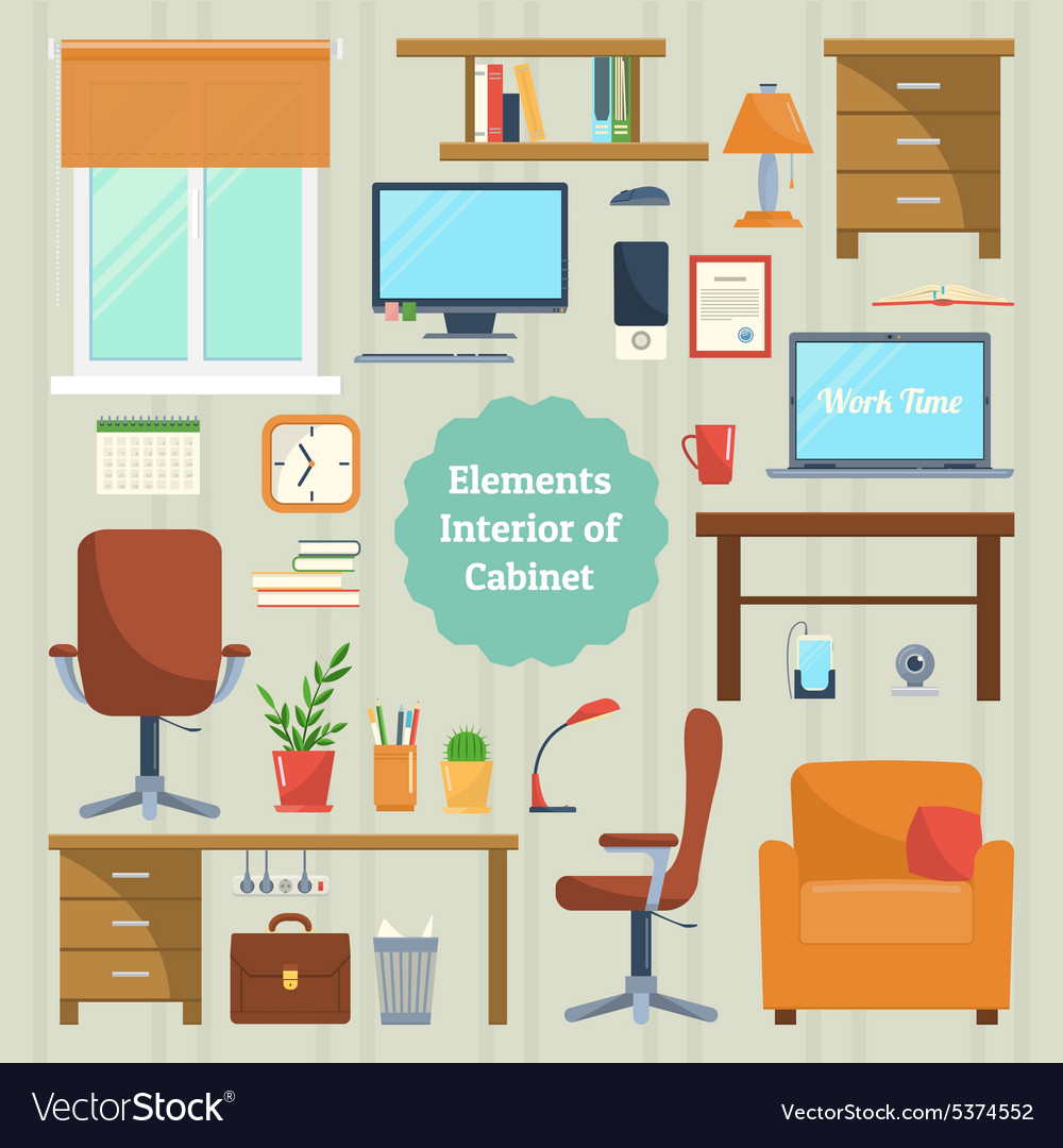 Elements of the interior cabinet vector image
