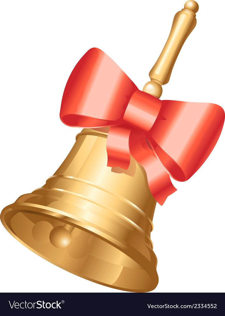 Golden school bell with red bow