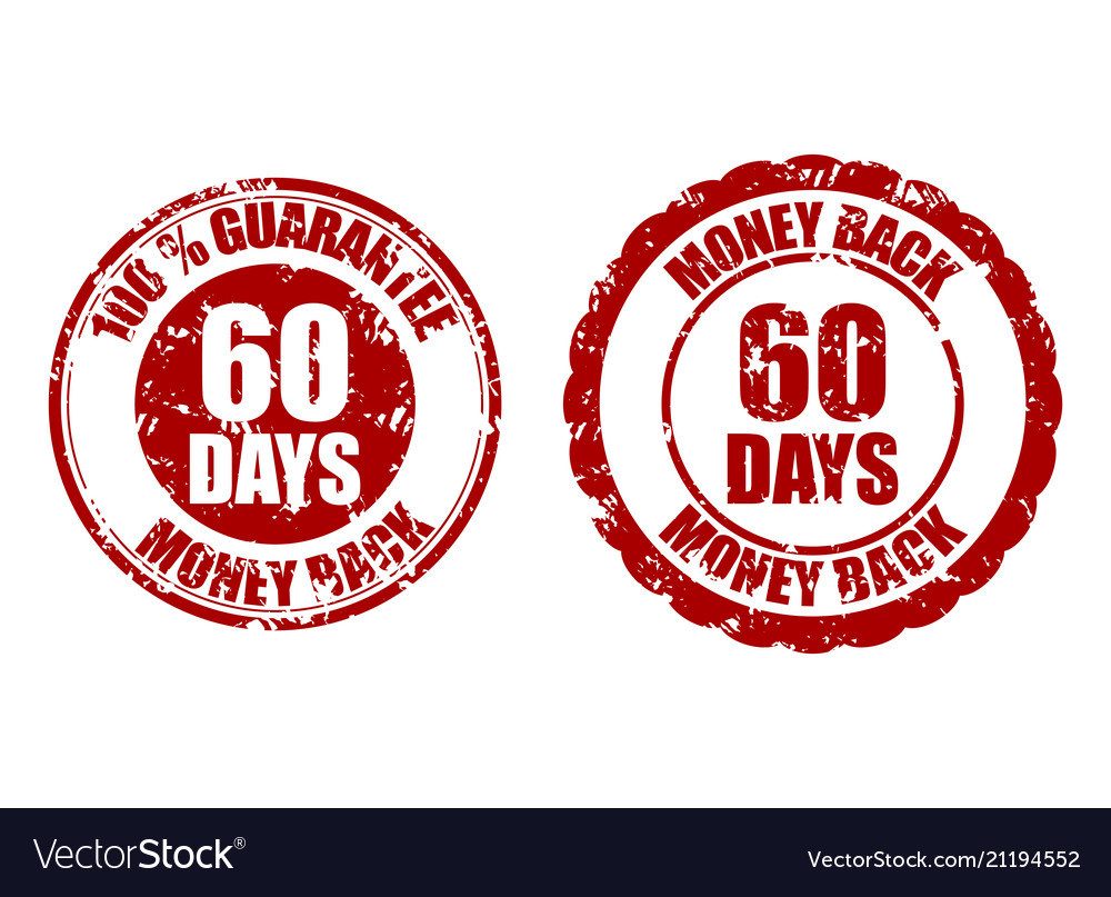 Money back guarantee 60 days rubber stamp red