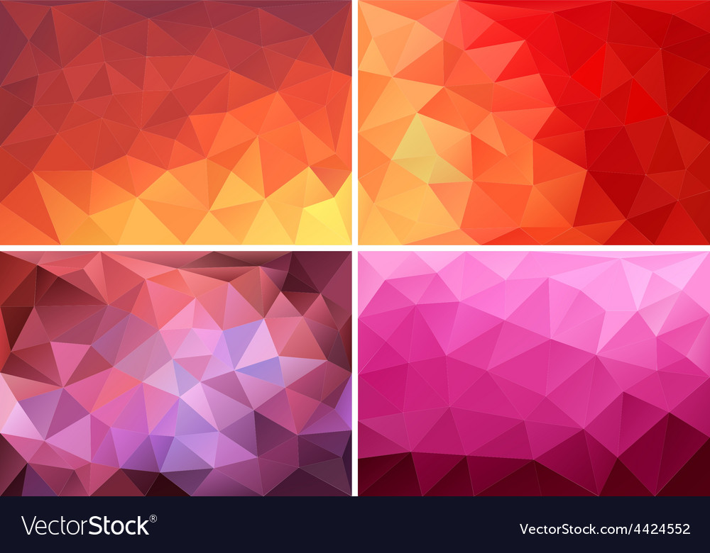 Red orange pink low poly backgrounds set