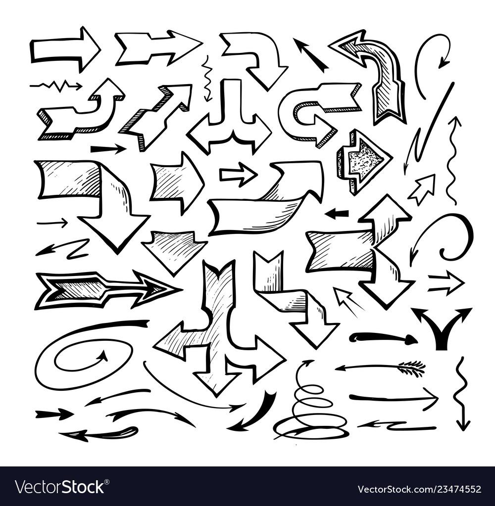 Set of comic arrows doodle