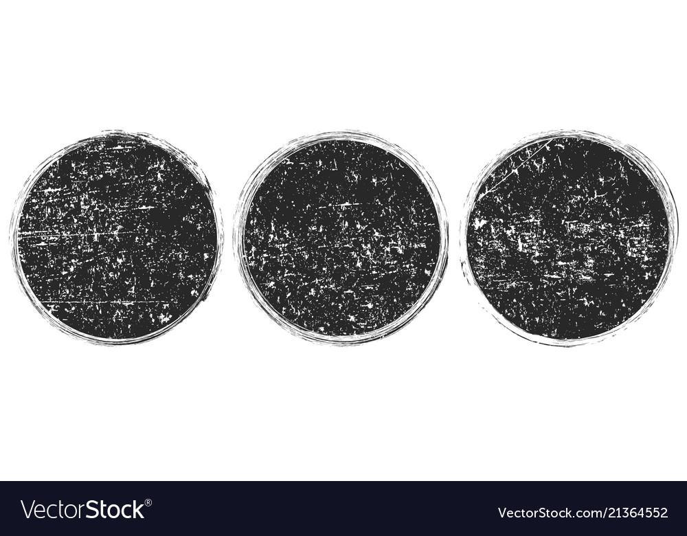 Set of grunge round black framesbanners