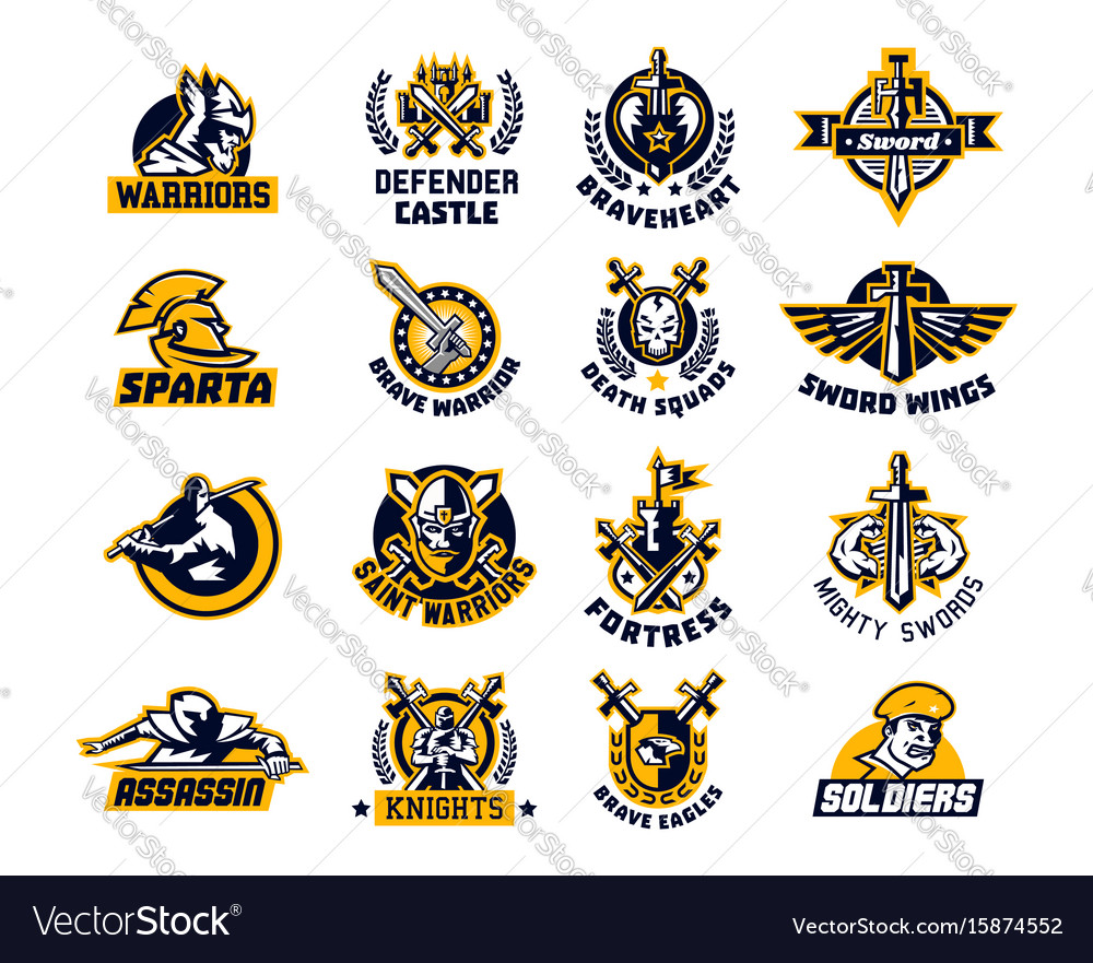 Set of logos on the sword and warrior viking a vector image