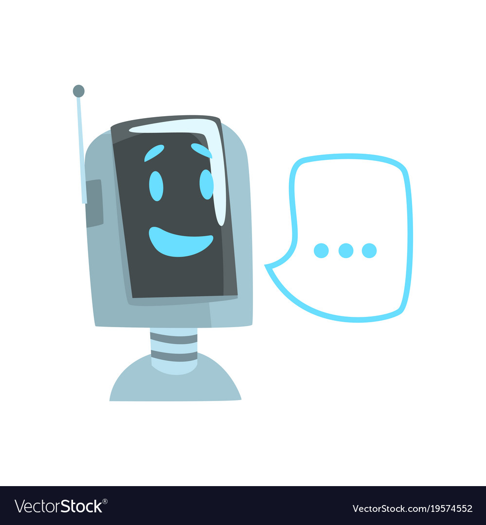 Smiling funny robot and speech bubble voice