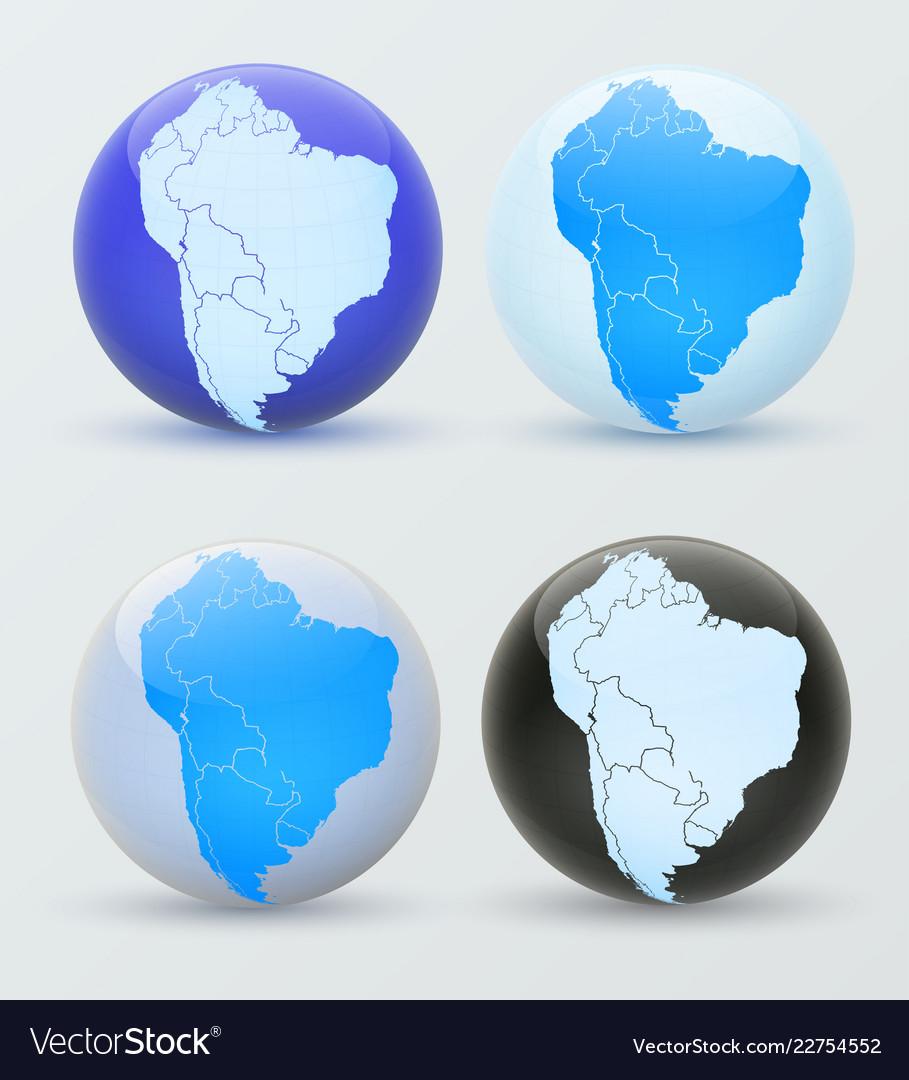 South america on a globe 3d globe south america