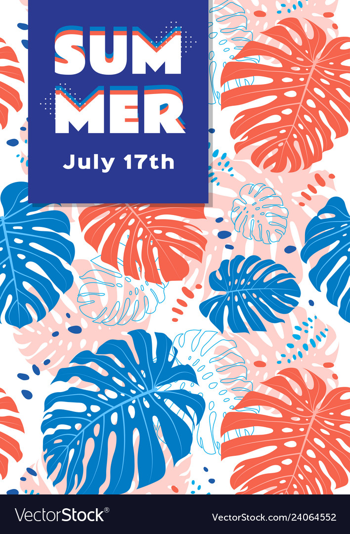 Summer poster tropical leaves background