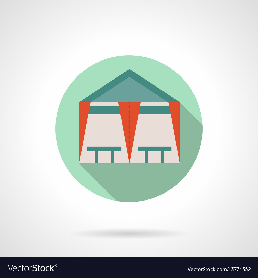Tent cafe flat round icon vector image