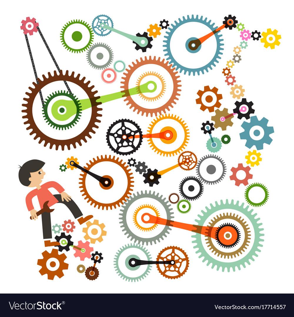 Cogs - gears and man repair or maintenance symbol