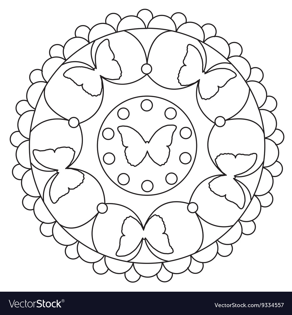 Coloring Simple Butterfly Mandala Royalty Free Vector Image