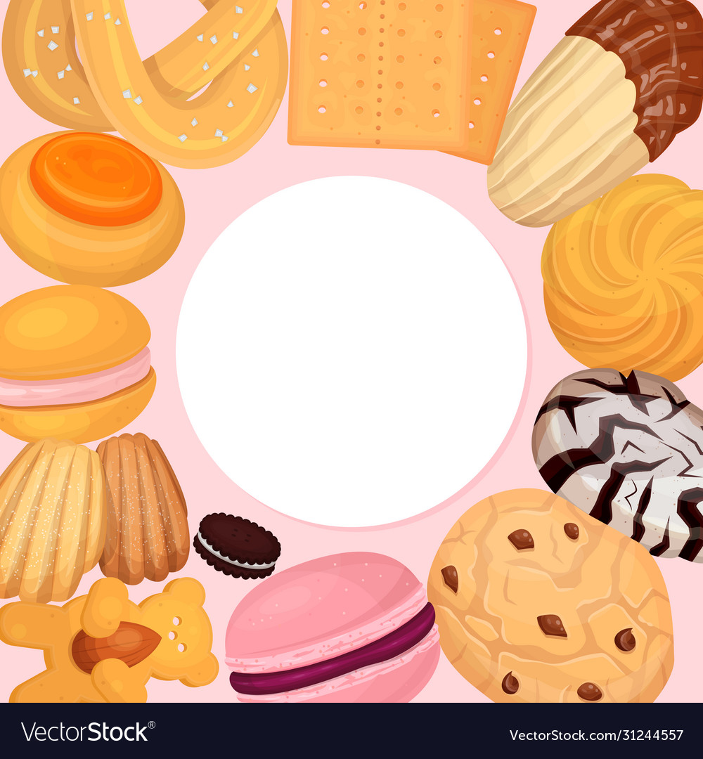 Cookies pastry pattern flat