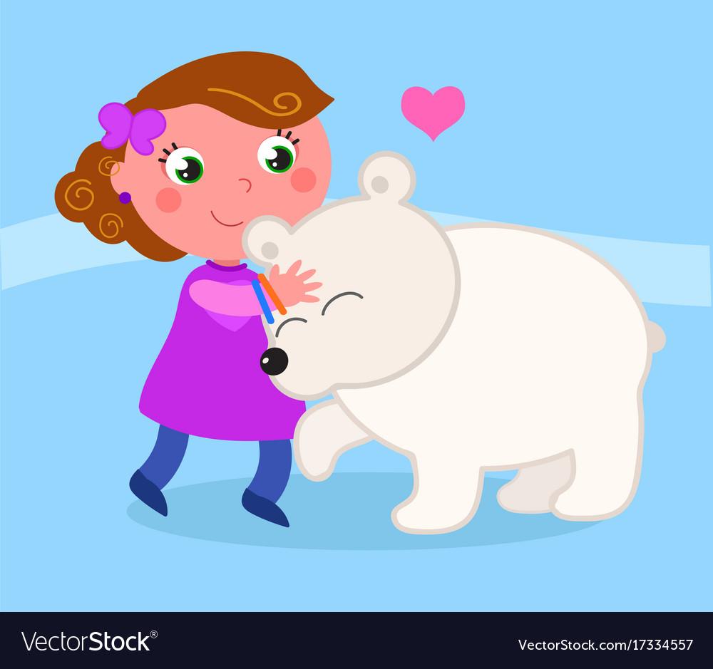 Cute girl with polar bear