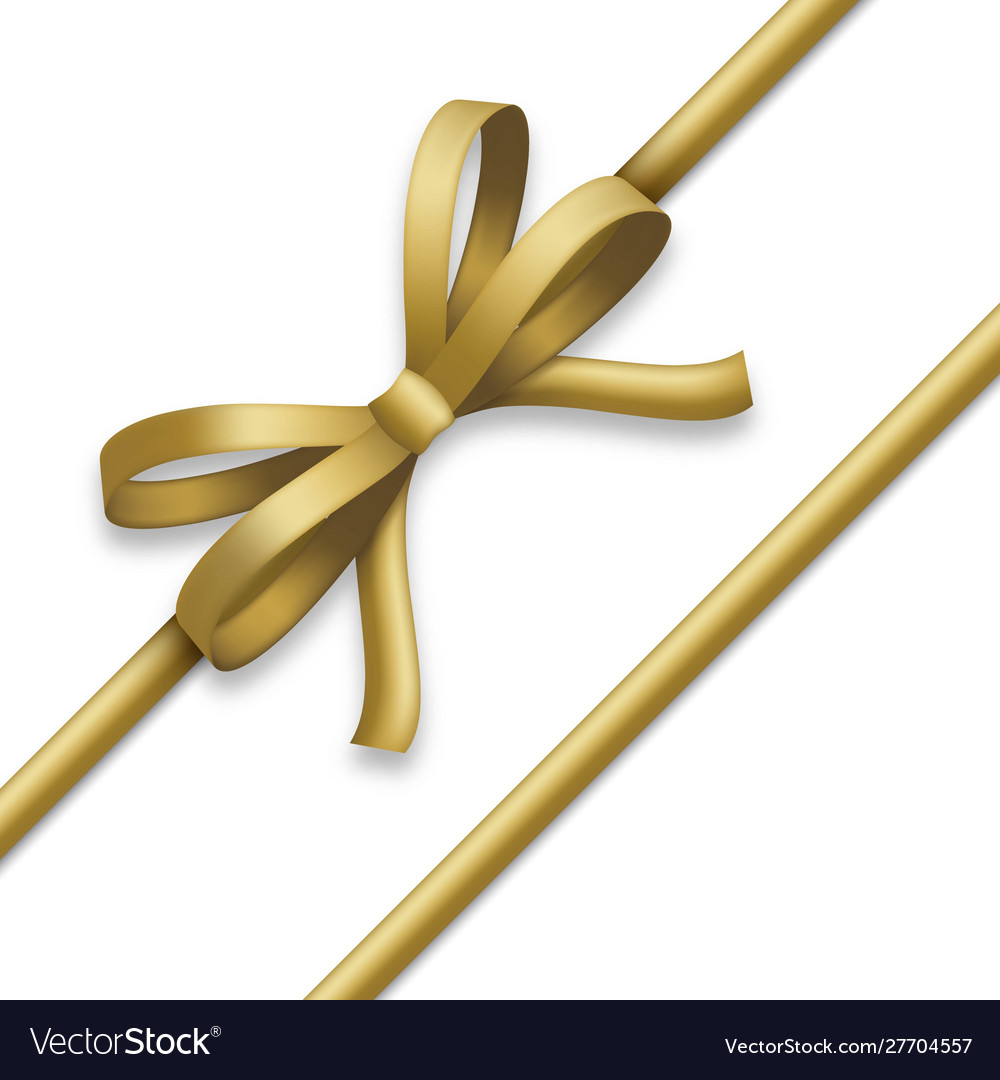 Decorative golden bow with gold colored ribbons