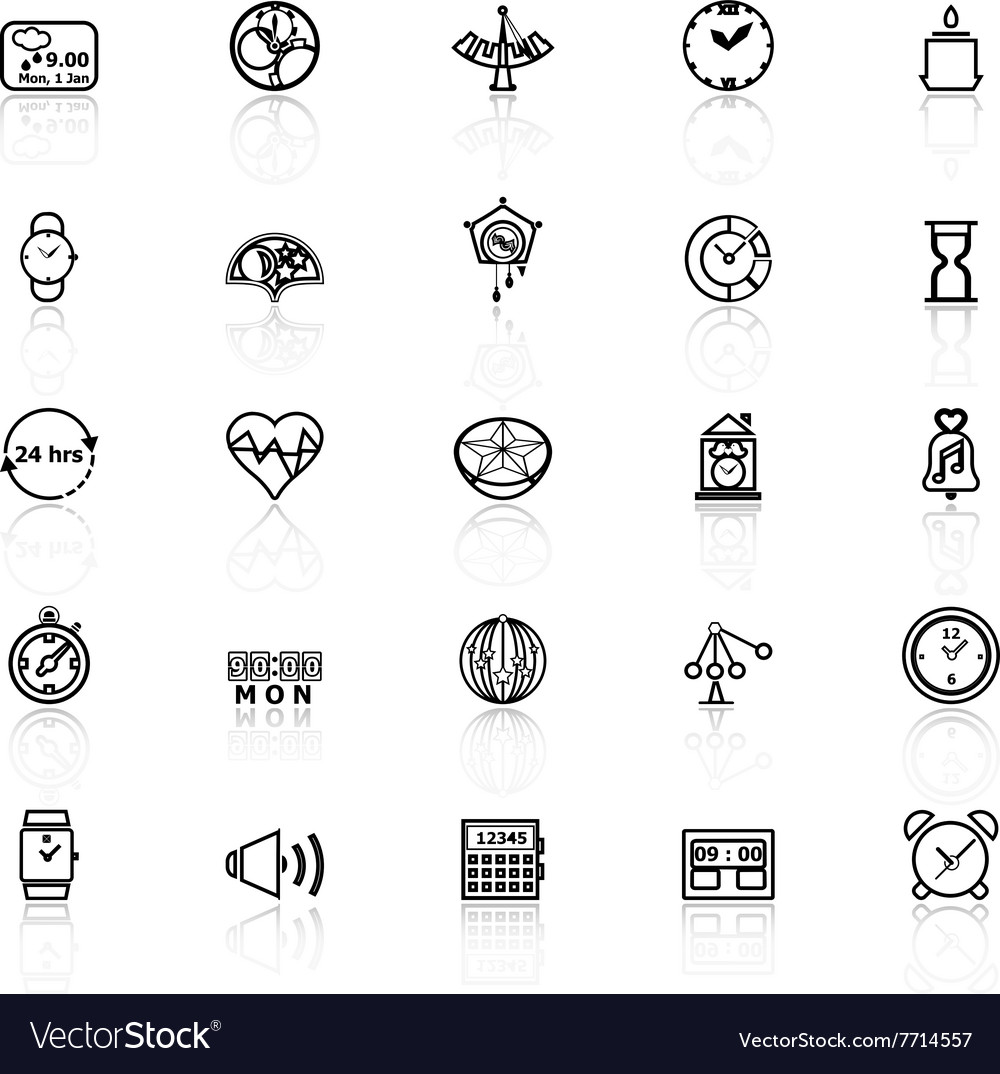 Design time line icons with reflect on white vector image