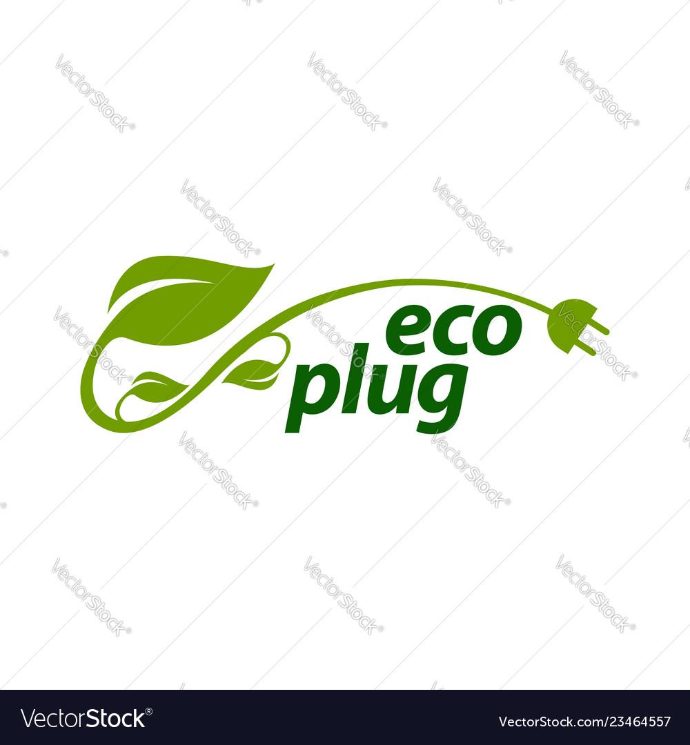 Eco plug stem leaves with electric plug icon logo