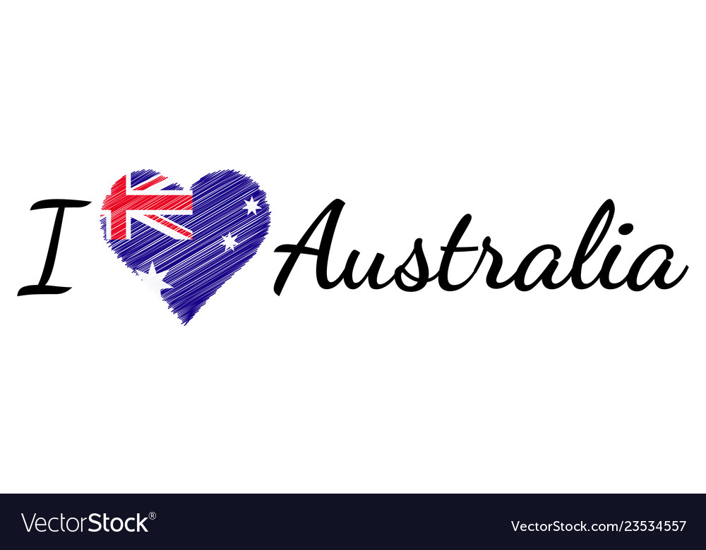 I love country australia text heart doodle