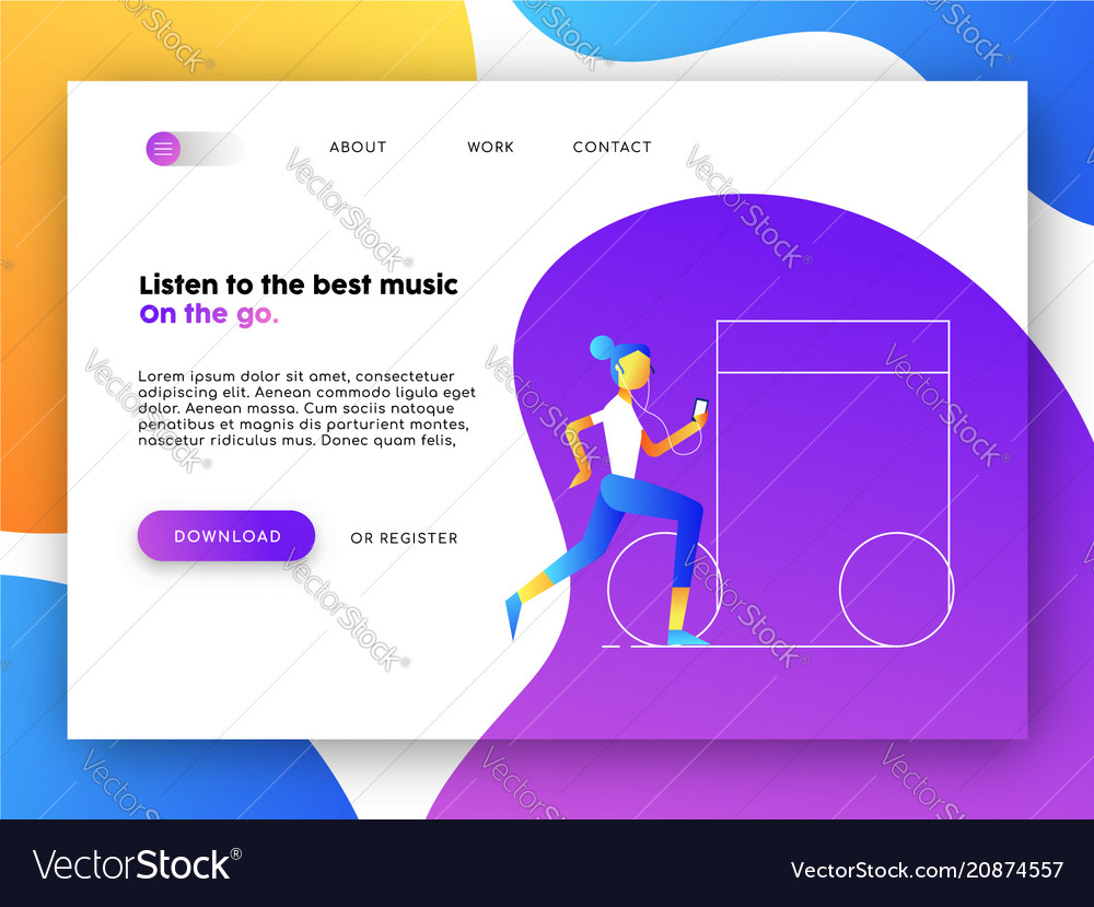 Music app web landing page for business marketing