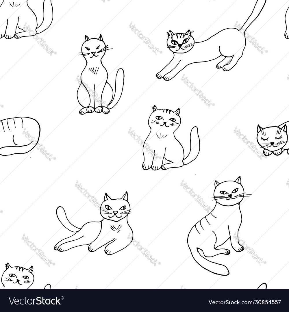 Seamless pattern with hand drawn cute cats
