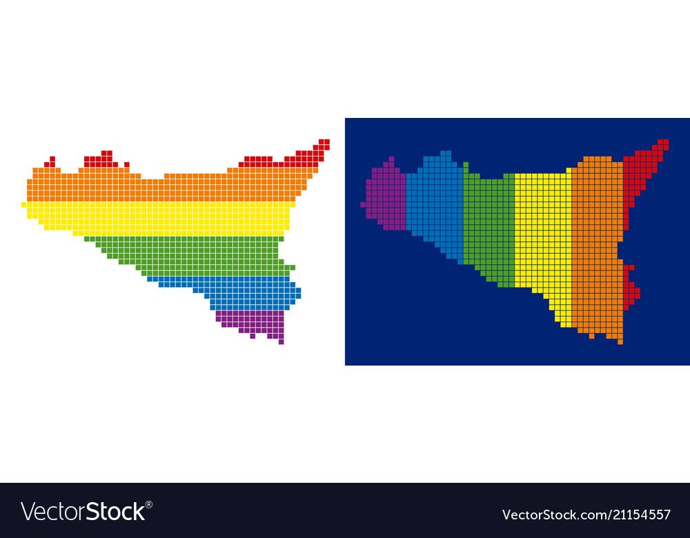 Spectrum pixel dotted sicilia map vector image
