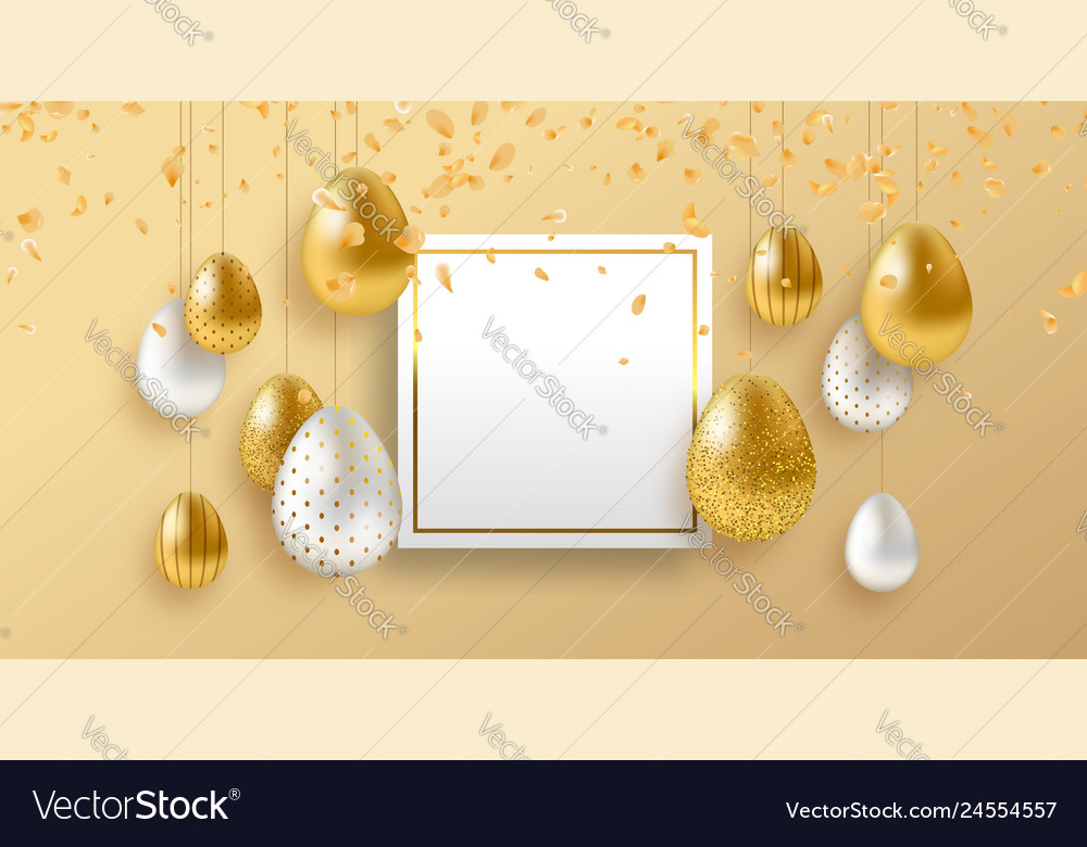 Spring easter card template with gold luxury eggs