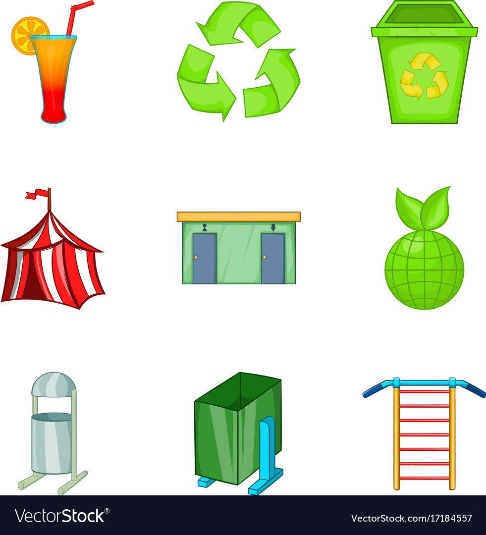 Tent icons set cartoon style