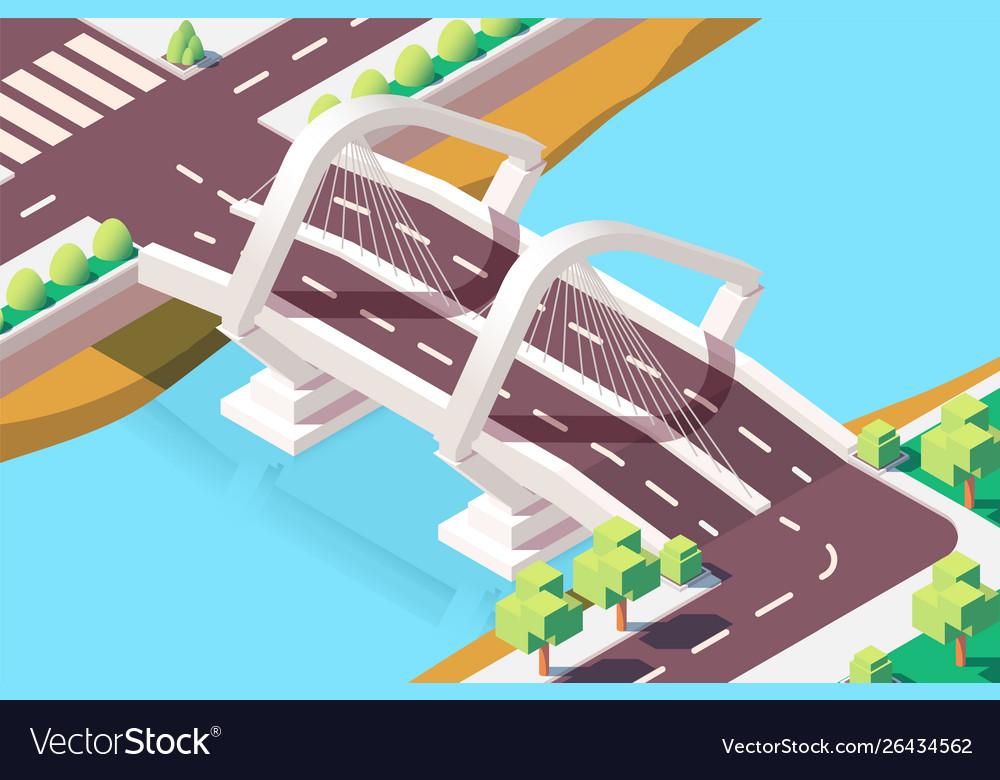 3d isometric modern bridge with urban landscape