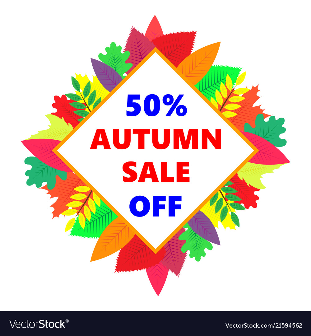 Autumn sale design banner with colored