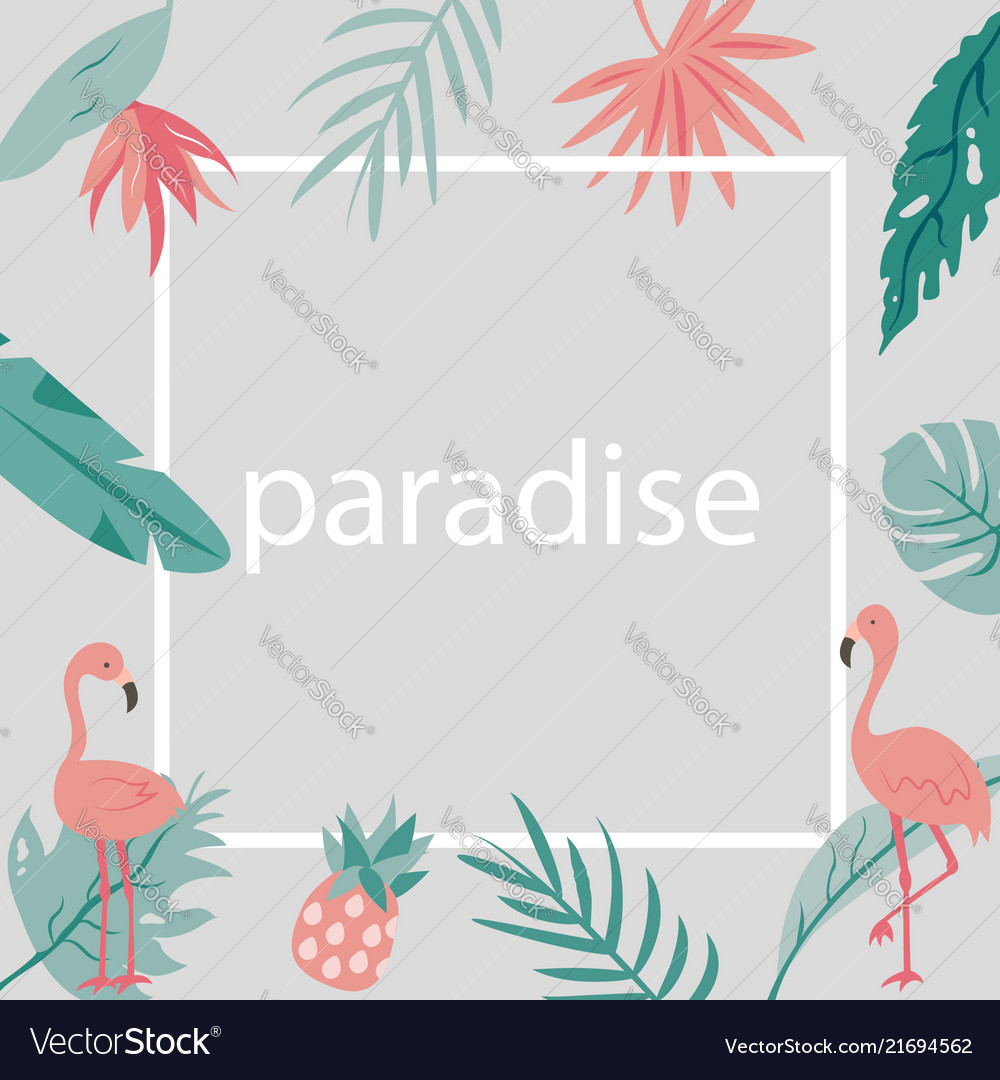 Beach tropical invitation card with flamingos