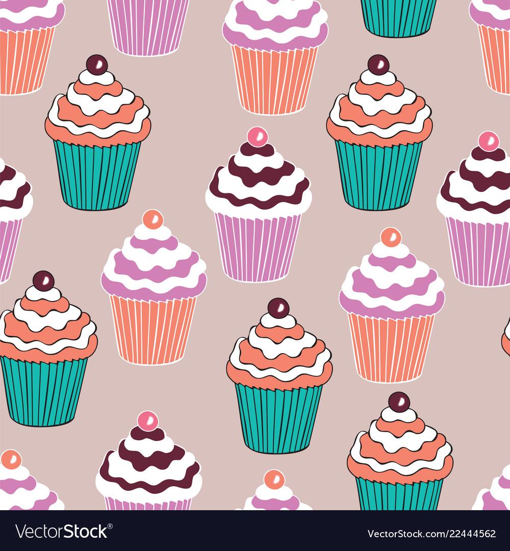 Beautiful yummy cupcake seamless background