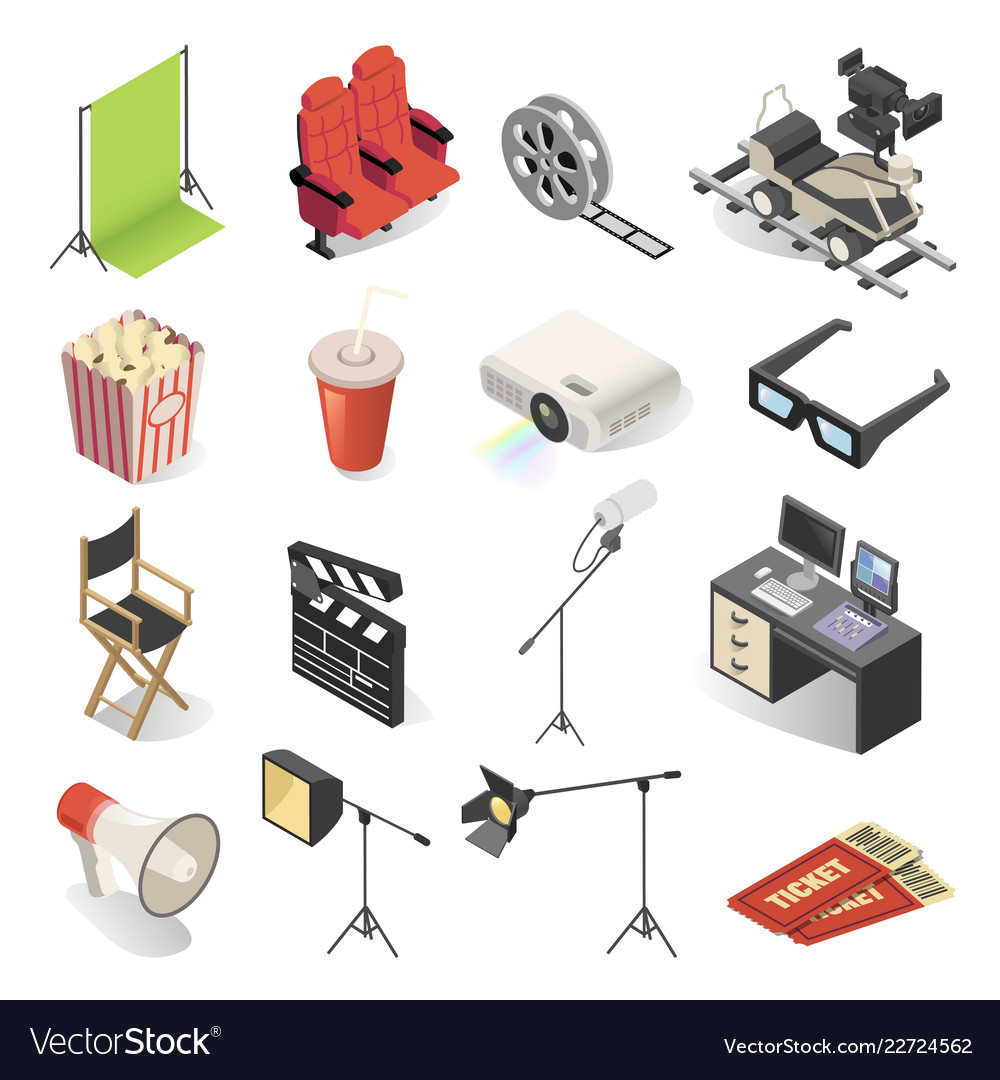 Cinema production and movie watching icon set
