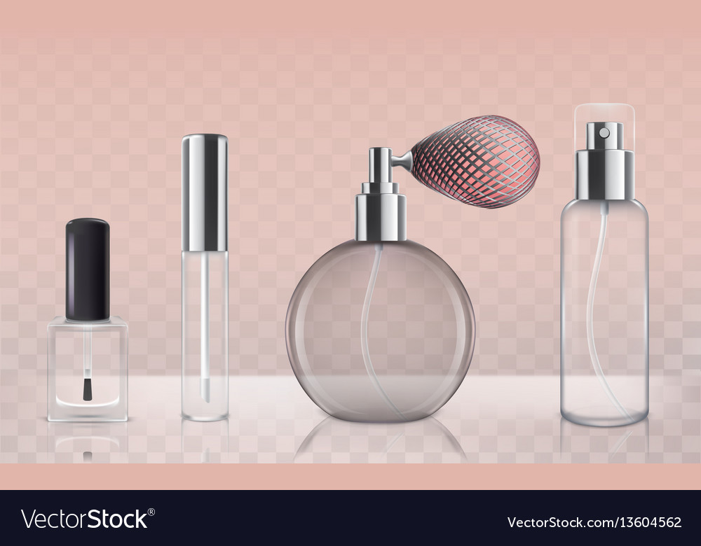 Collection of empty glass cosmetic bottles in vector image