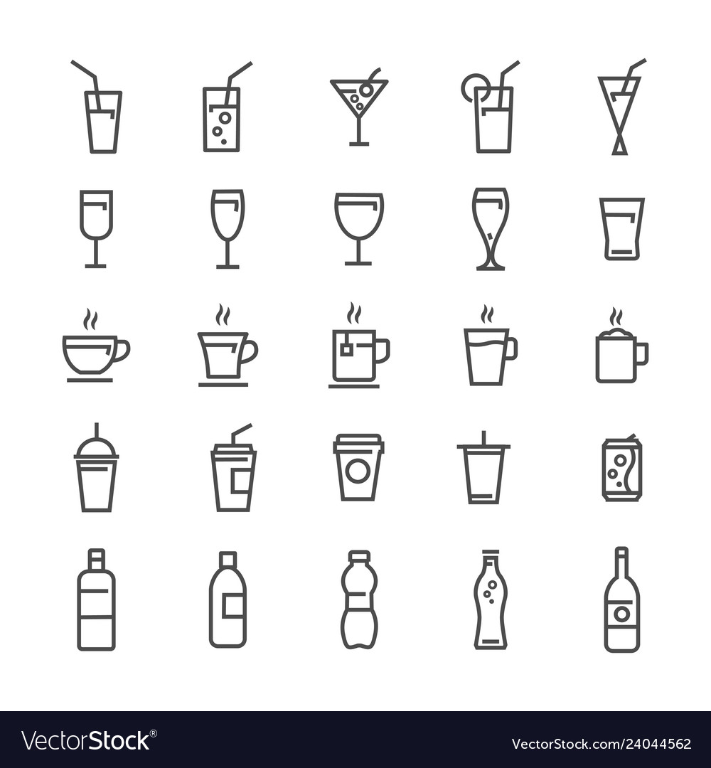 Drinks and beverages line icons set