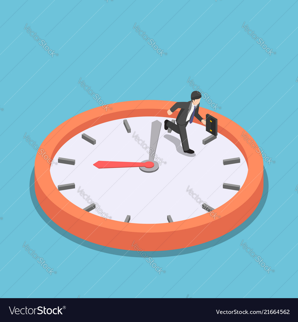 Isometric businessman running on big clock face