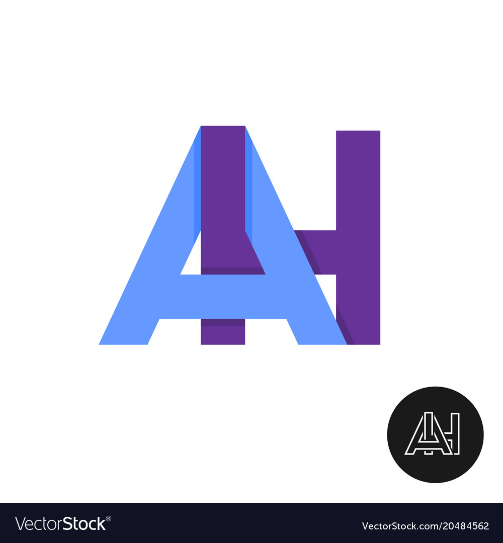 Letters a and h ligature logo two ah sign